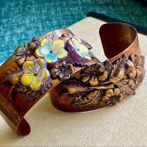 Two Handmade Antiqued Brass Cuff Bracelets